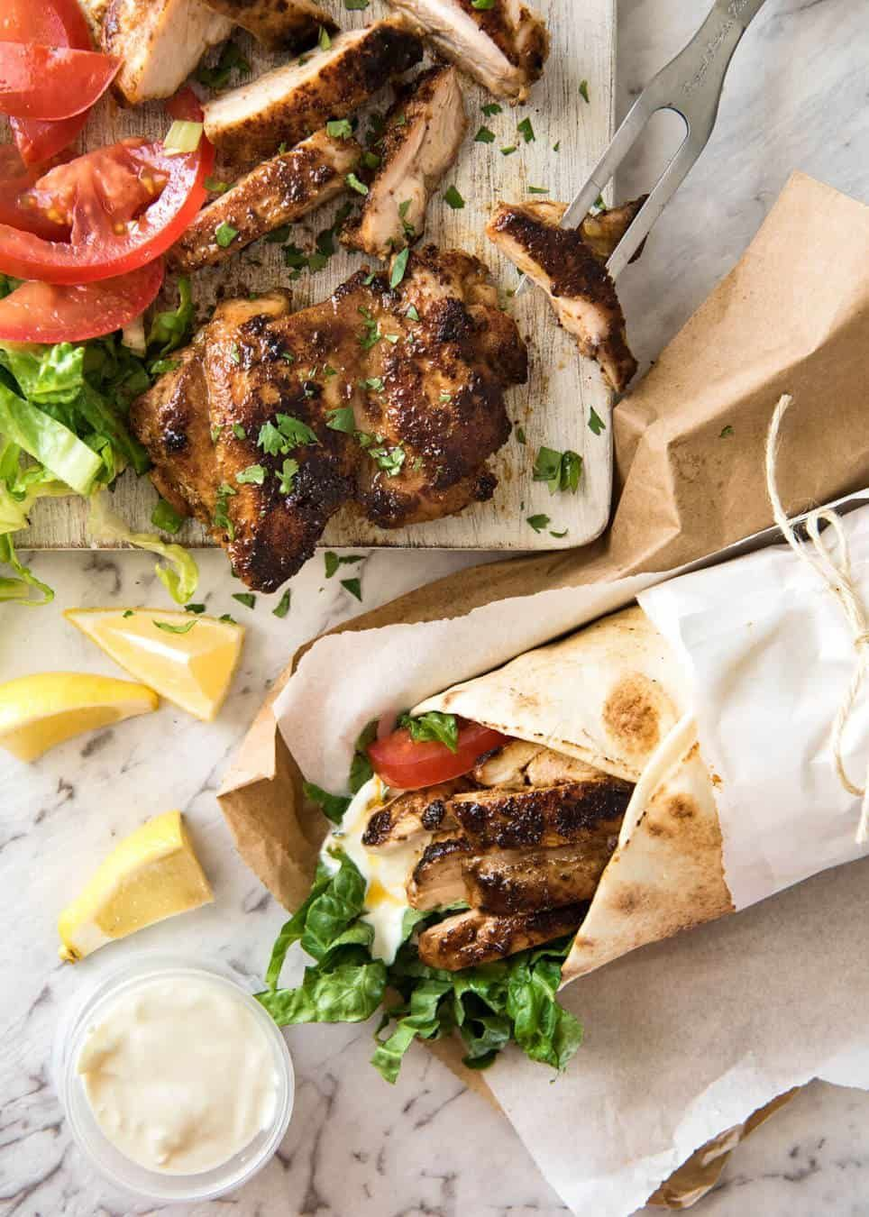 Chicken Shawarma (Middle Eastern) #middleeast The flavour of this Chicken Shawarma marinade is absolutely incredible, yet made with just a handful of everyday spices. www.recipetineats.com #middleeast