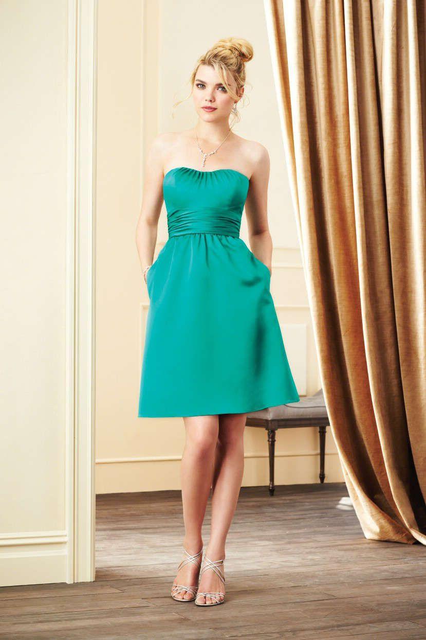 Strapless knee length satin green a line bridesmaid dress