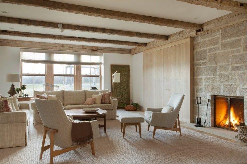 Modernes Wohnzimmer Mit Holz Schiebetür Und Kamin