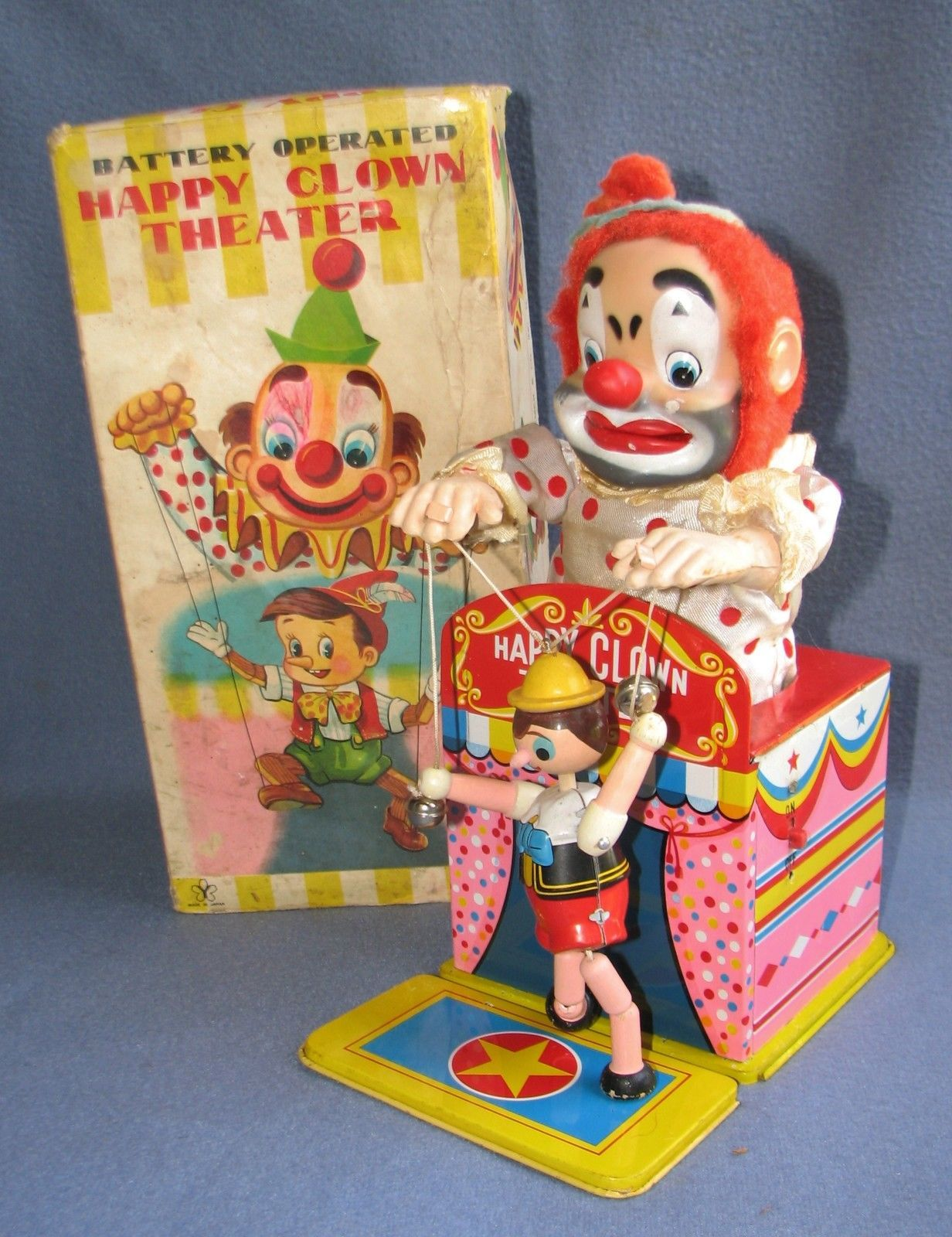 Yonezawa Happy Clown Theatre Battery Toy from 60s ebay