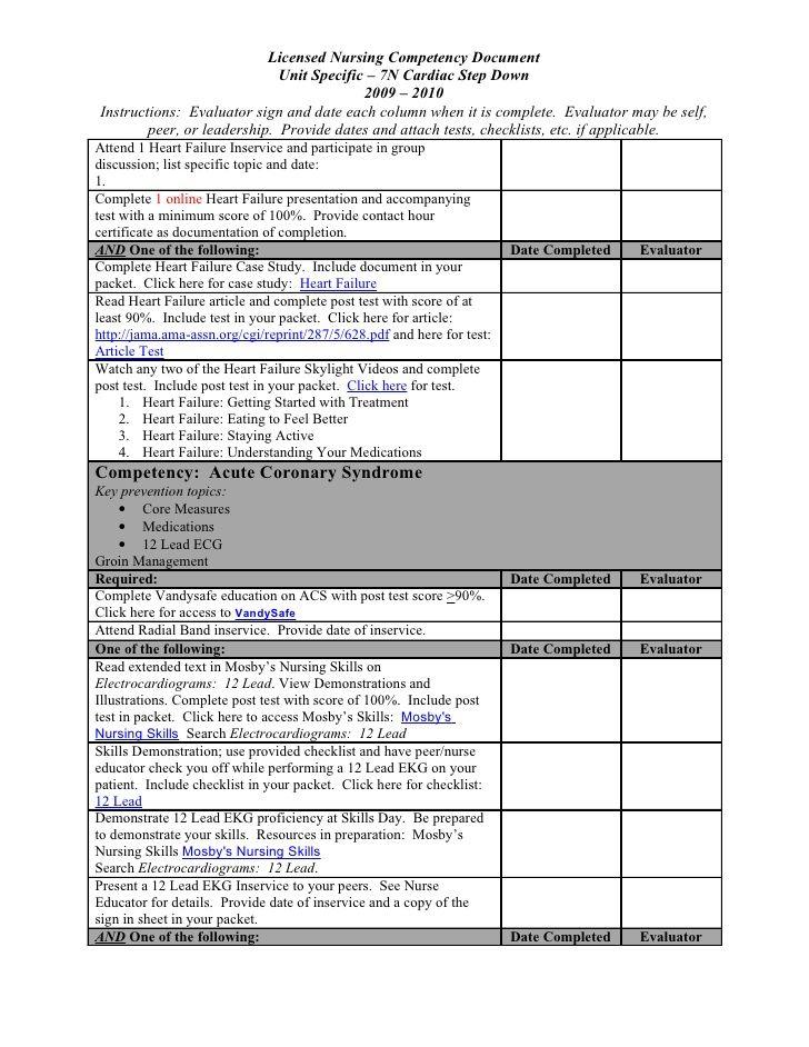 nursing competency checklist licensed nursing competency