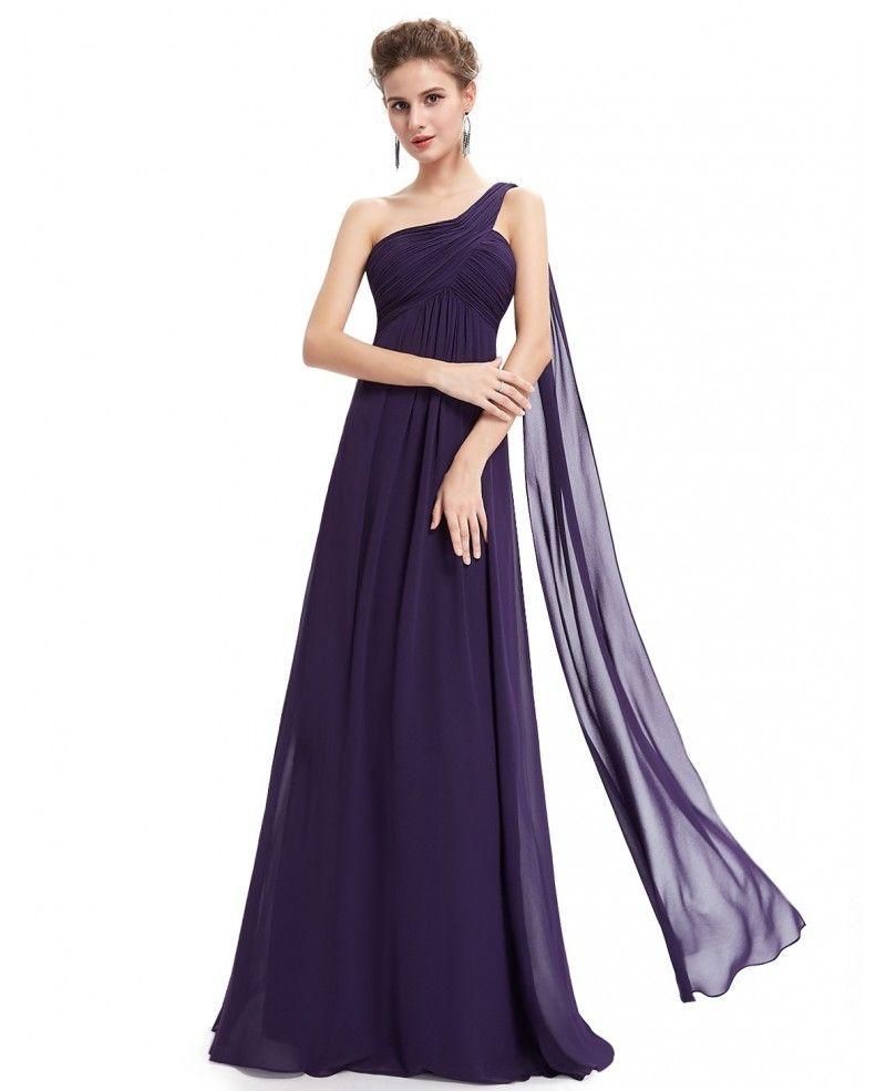 Empire One-shoulder Chiffon Floor-length Bridesmaid Dress ...