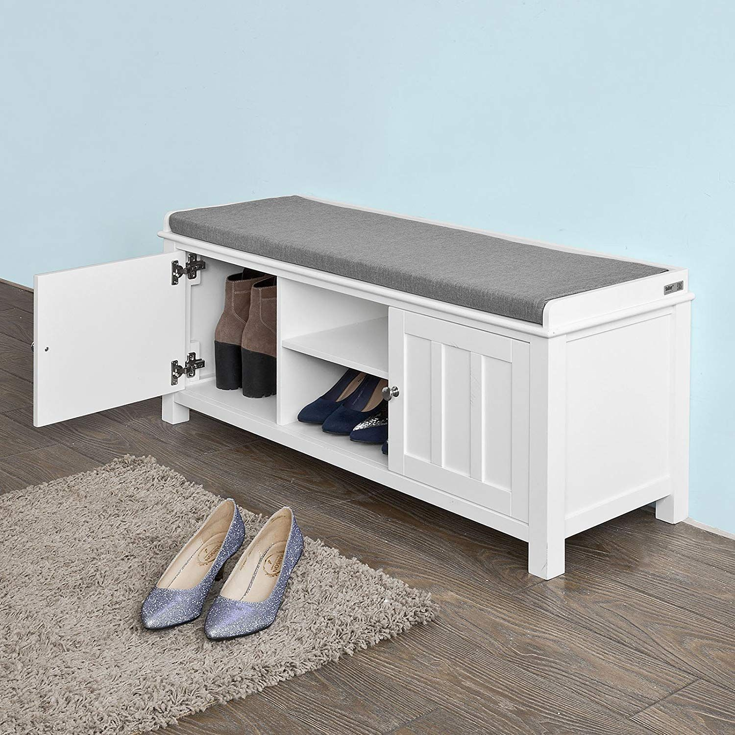 Amazon Com Haotian White Storage Bench With 2 Doors Removable Seat Cushion Shoe Cabinet Shoe Bench Fsr35 W W White Storage Bench Shoe Cabinet Storage Bench