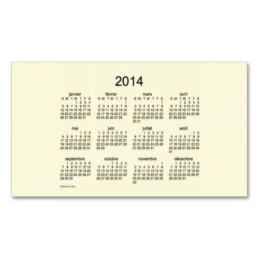 2014 Francias Cartes De Visite Calendrier Business Card Templates Design From Calendars By Janz