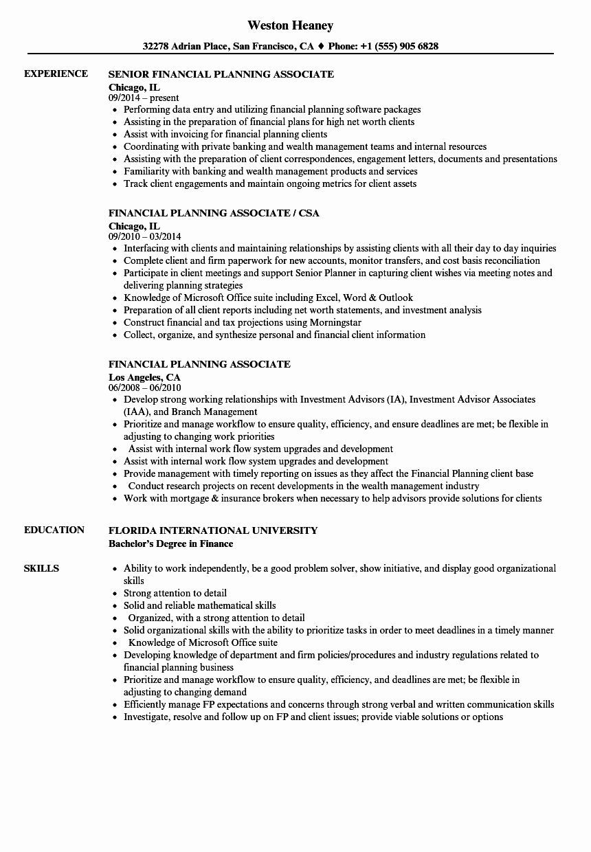 Financial Planning and Analysis Resume Beautiful Financial