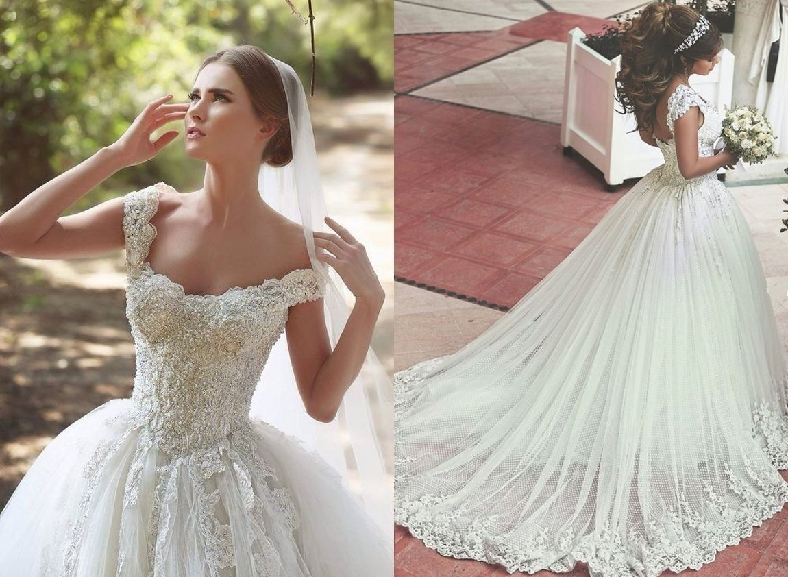 Lace Applique Beaded Ball Gown Wedding Dresses Offshoulder Retro