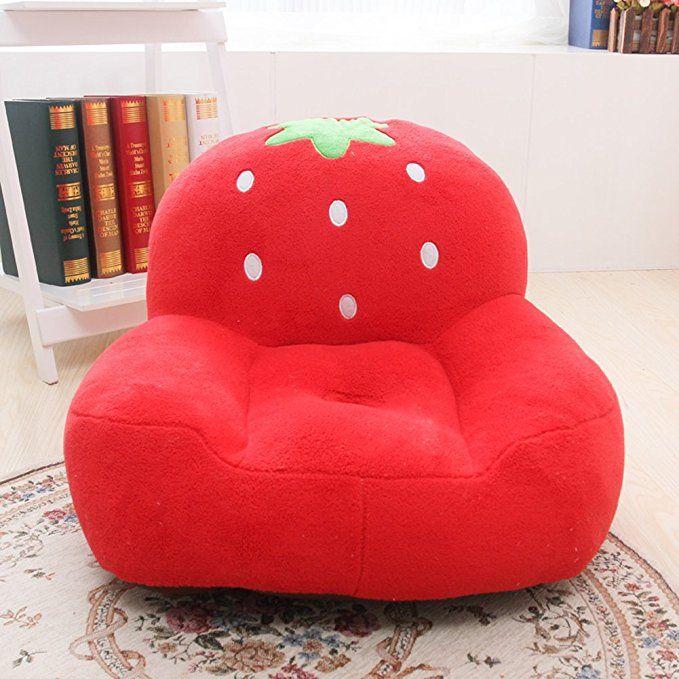 MAXYOYO Super Cute Red Strawberry Stuffed Plush Toy Bean Bag Chair