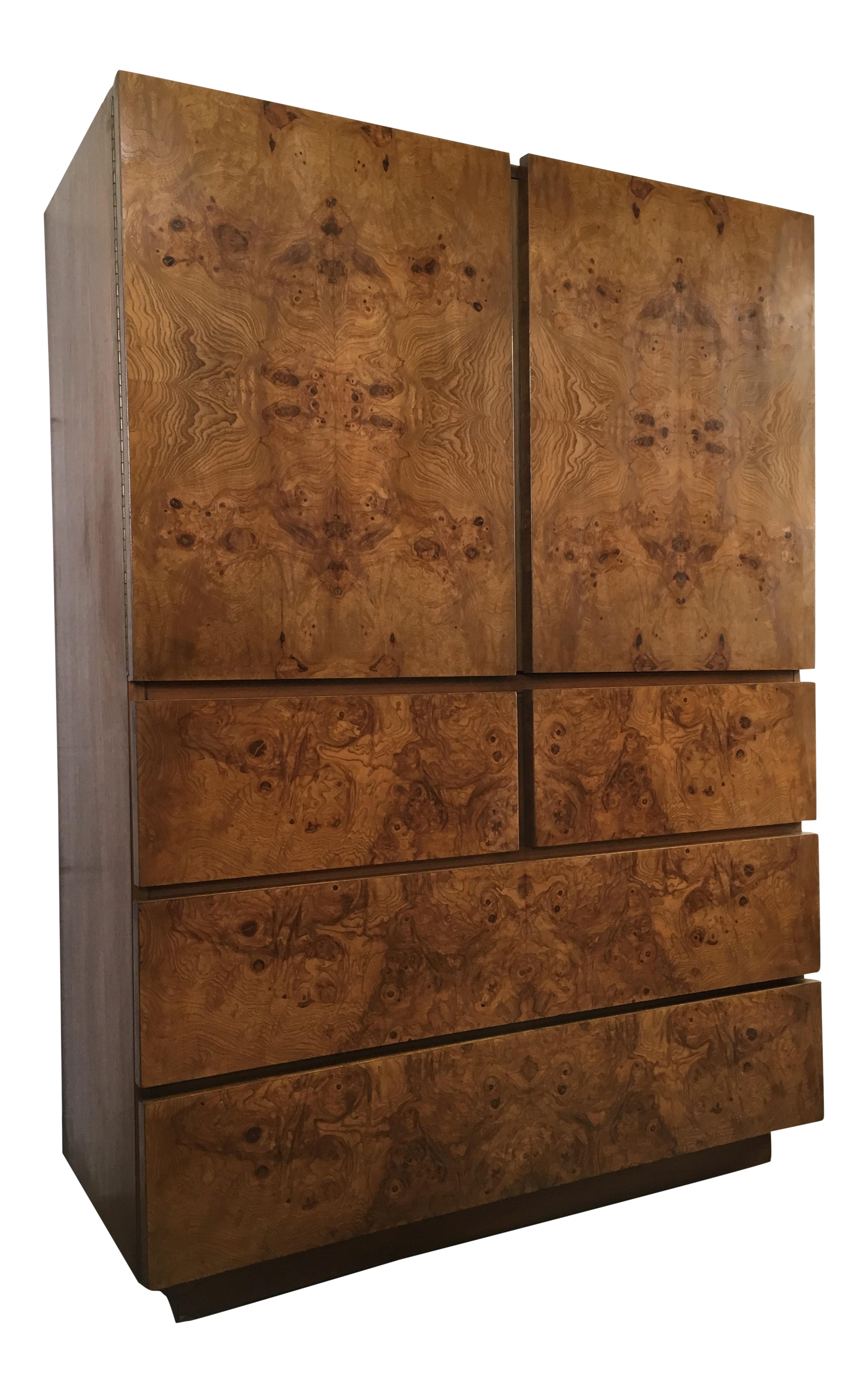Vintage Mid Century Modern Lane Burl Wood Highboy Dresser Vintage