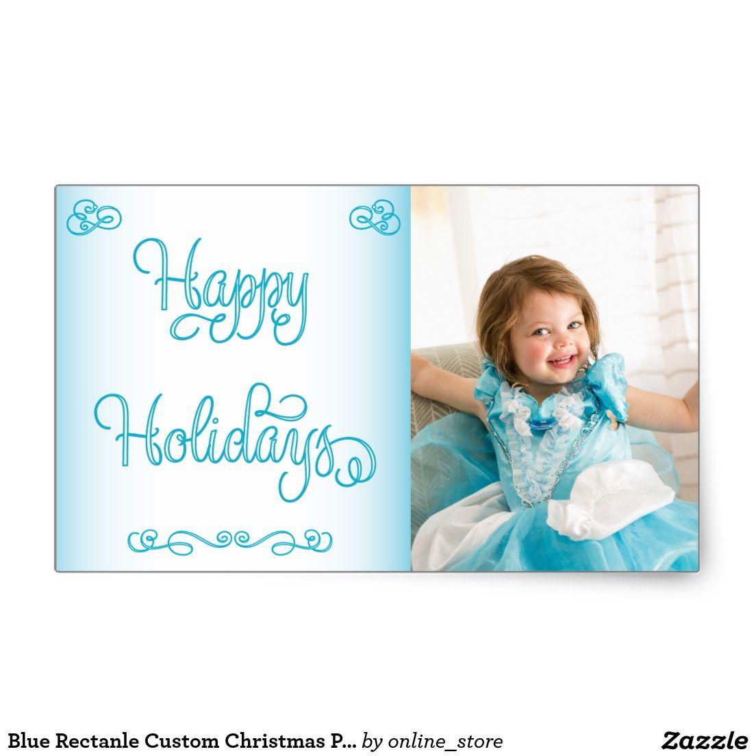 Blue Rectanle Custom Christmas Photo Stickers