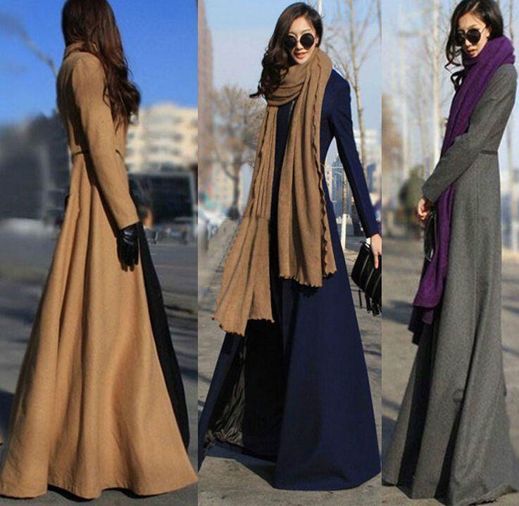 Details about Womens Overcoat Stylish Autumn Wool Blend Floor Length Slim  Fit Dress Long Coats - SHEILA LOVELOVELOVESSSSSS New Luxury Women Winter Autumn Wool
