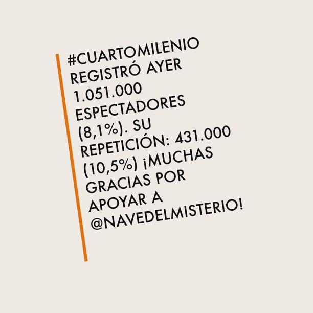 CuartoMilenio registró ayer 1.051.000 espectadores (8,1%). Su ...