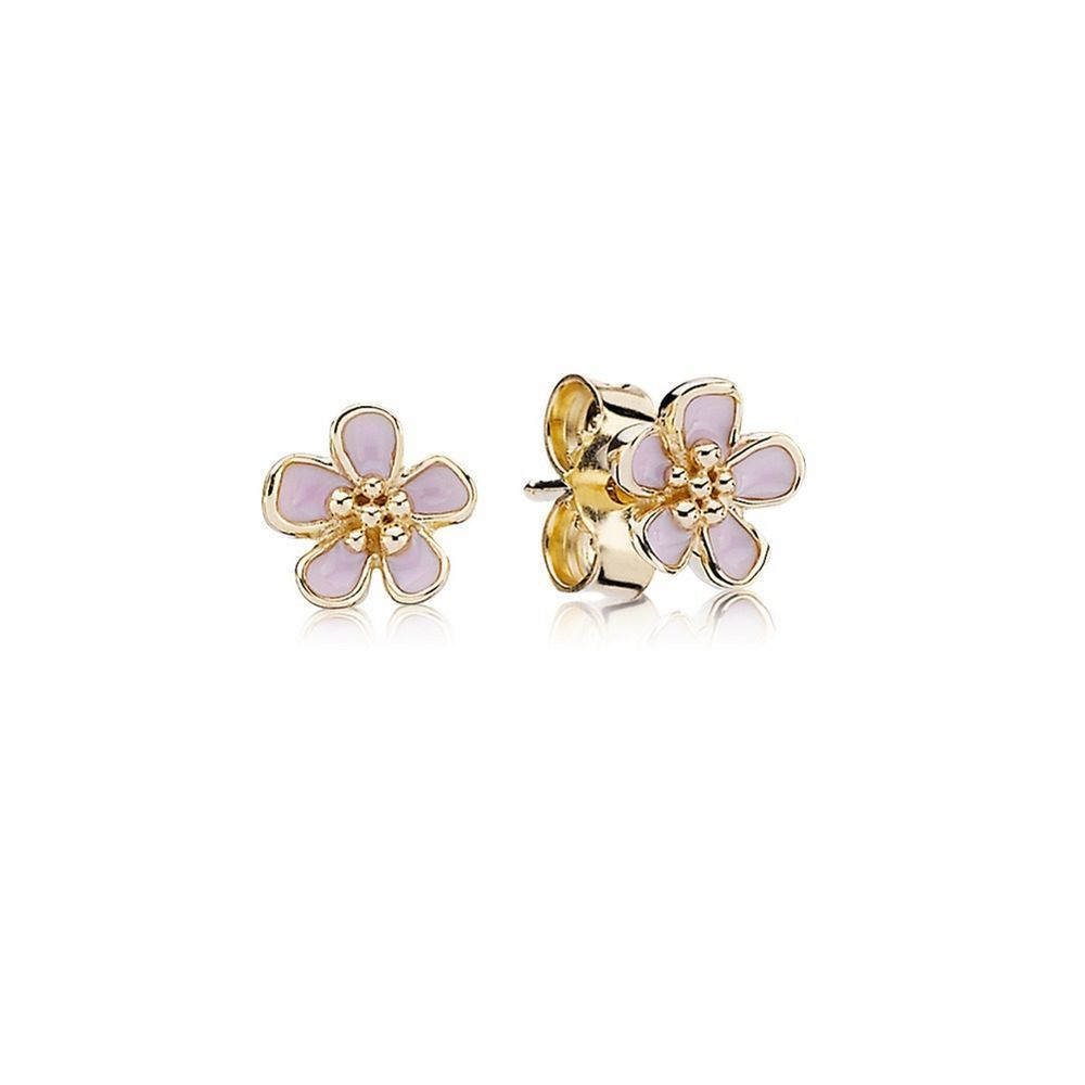 Stonebeads Pink Cherry Blossom Flower Stud Earrings in 925 sterling silver with pink enamel flowers. IzJzDUm