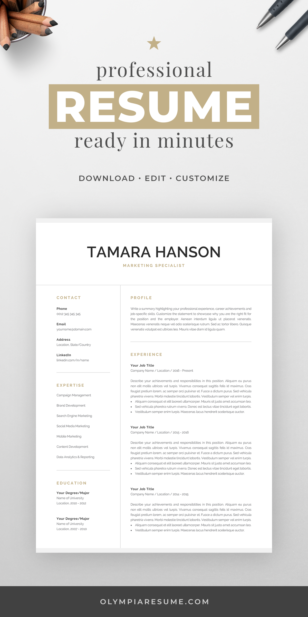 Professional 1 2 Page Resume Template Modern Cv Design Word Mac Pages Resume Template Resume Template Professional Modern Resume Template