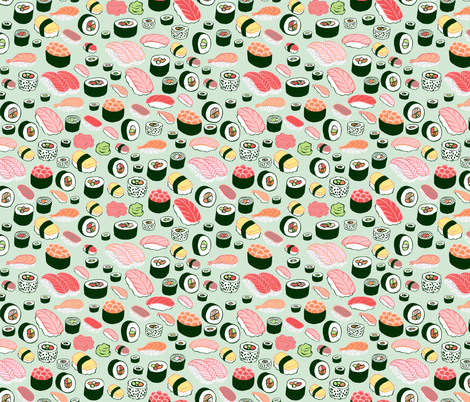 Colorful fabrics digitally printed by Spoonflower - sushi