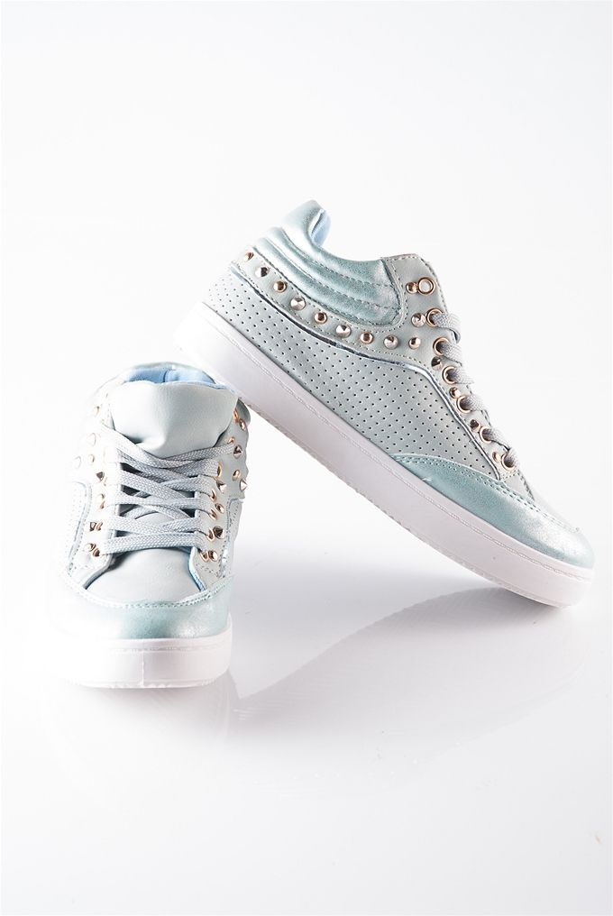 Metal Stud Sneaker with Padded Ankle - Mint from Casual & Day at Lucky 21 Lucky 21