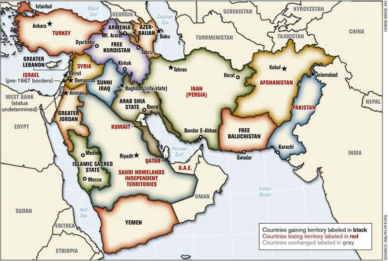 Political map of the Middle East proposed by LieutenantColonel