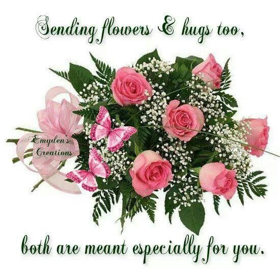 Sending Hug S And Flowers Just For You Pictures For Friends Hug