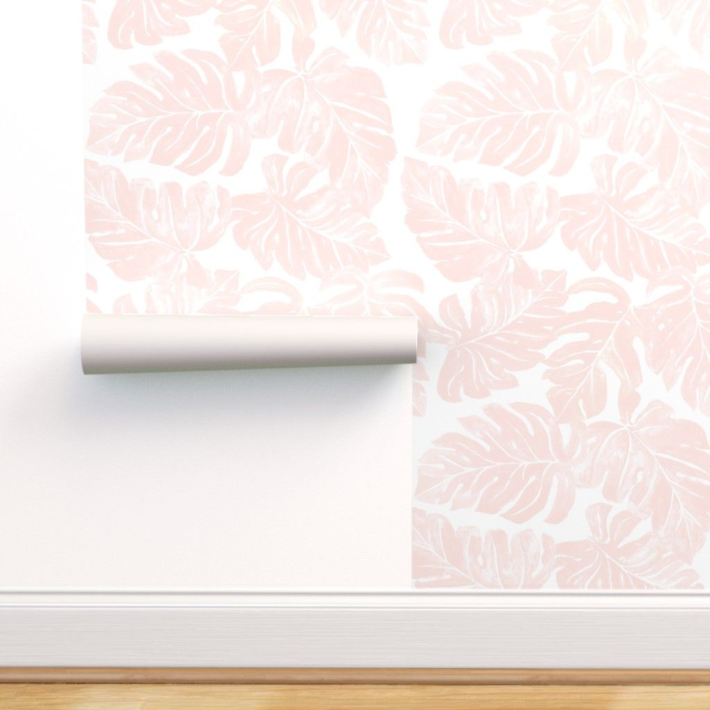 Peel And Stick Removable Wallpaper Blush Tropical Pink Monstera Leaves Plant Walmart Com Tropical Wallpaper Self Adhesive Wallpaper Removable Wallpaper