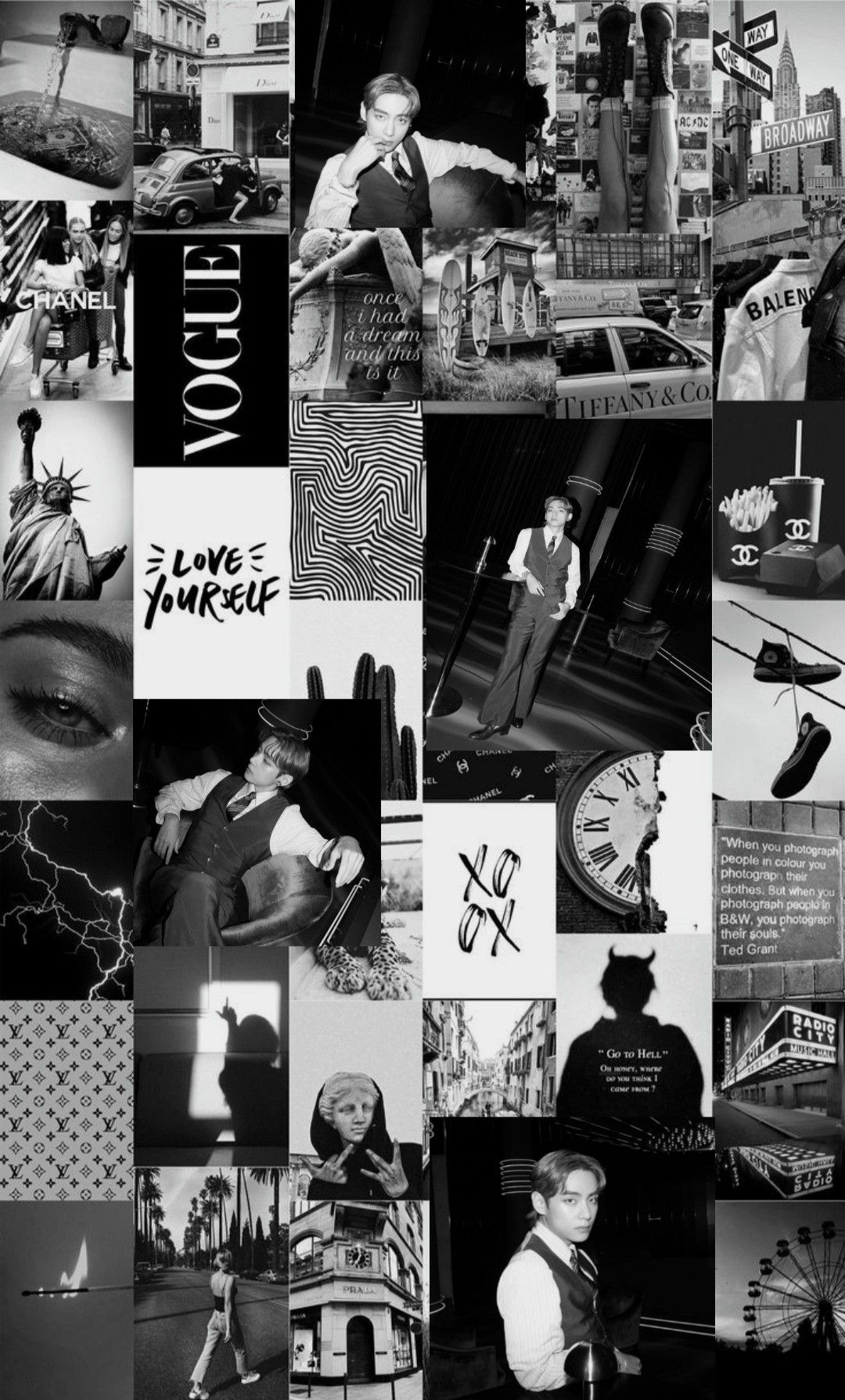 Taehyung Collage Cute Black Wallpaper Edgy Wallpaper Black Aesthetic Wallpaper Aesthetic edgy black and white wallpaper