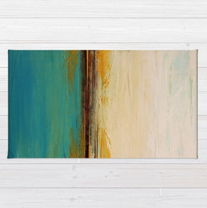 Abstract Seascape Blue And White Area Rug Beach House