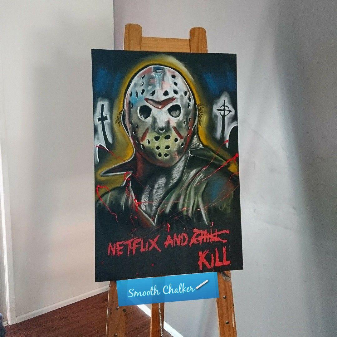 Netflix and what?!?! Jason Voorhees chalkboard