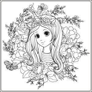 kostenloses ausmalbild einhornmädchen. das bild mit dem hübschen mädchen ist eingebettet in