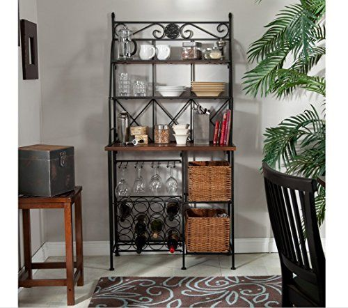 Metal Bakers Rack With Wine Storage Wine Glass Storage And 2 Pull