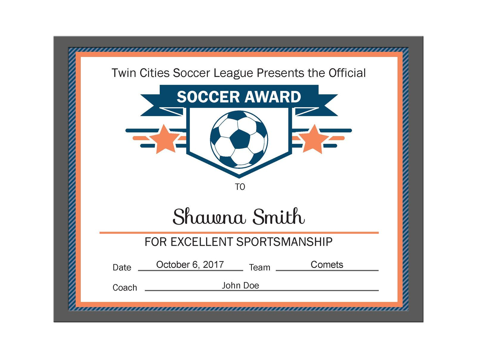 Editable pdf sports team soccer certificate award template in 3 editable pdf sports team soccer certificate award template in 3 colors orange navy red navy yadclub Choice Image