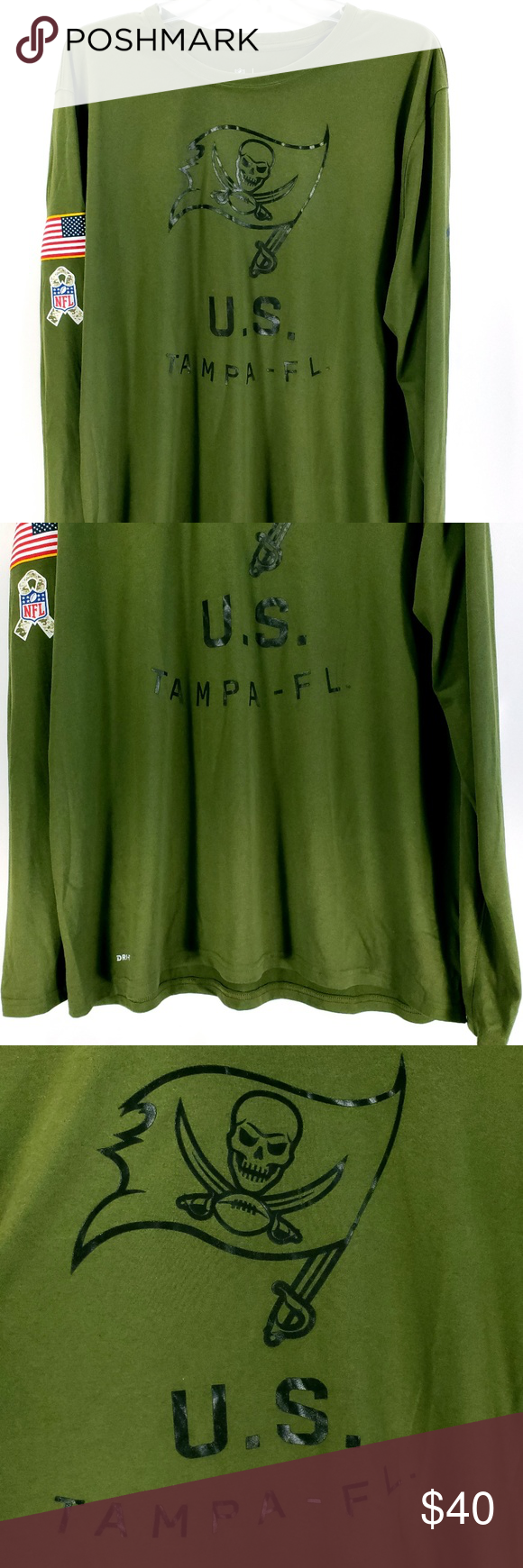 Tampa Bay Buccaneers NFL Salute to Service Tee New with tags men's Nike NFL Tampa Bay Salute to Service The Nike Tee  - Size XL on tag - Olive drab would be my best guess on the color - Salute to Service edition - Dri-Fit - Long sleeve - 938507-395 - 100% polyester - Measures approximately when laid flat:  22 1/ across front chest, 27 from back seam of collar to end of tee, & 31 from back side seam of collar to end of sleeve Nike Shirts Tees - Long Sleeve #salutetoservice
