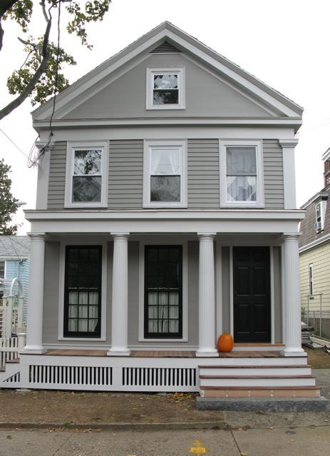 Greek Revival Exterior Renovation Before And After See How The Band Below The Attic Windo House Paint Exterior House Exterior Exterior Paint Colors For House