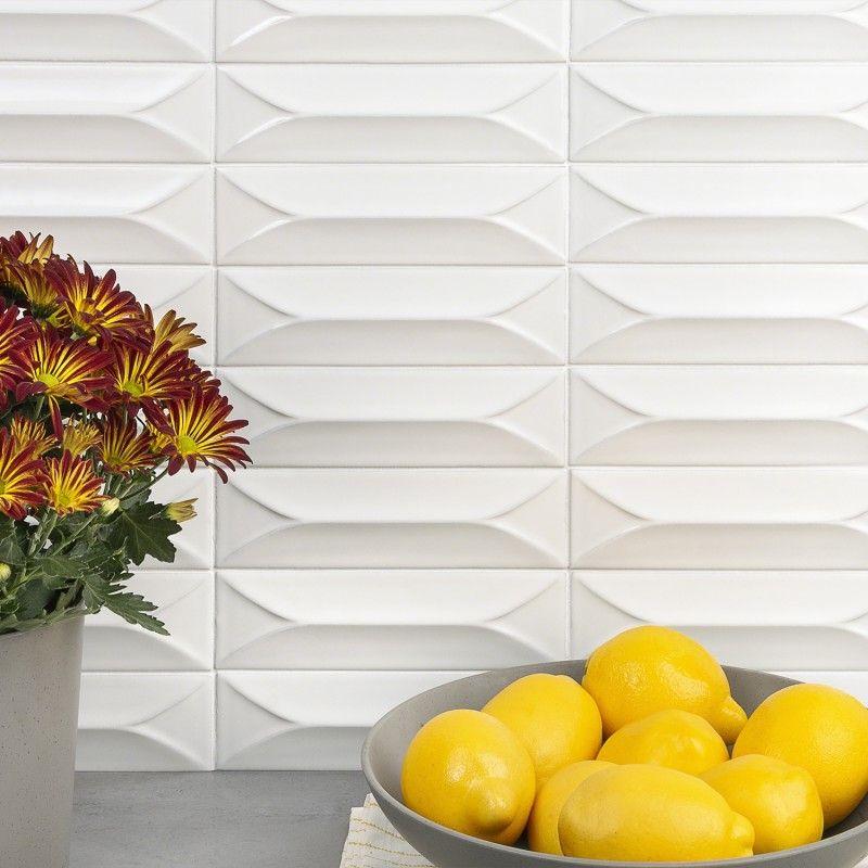 Byzantine Bianco 3D Ceramic Subway Tile - White #whitesubwaytilebathroom