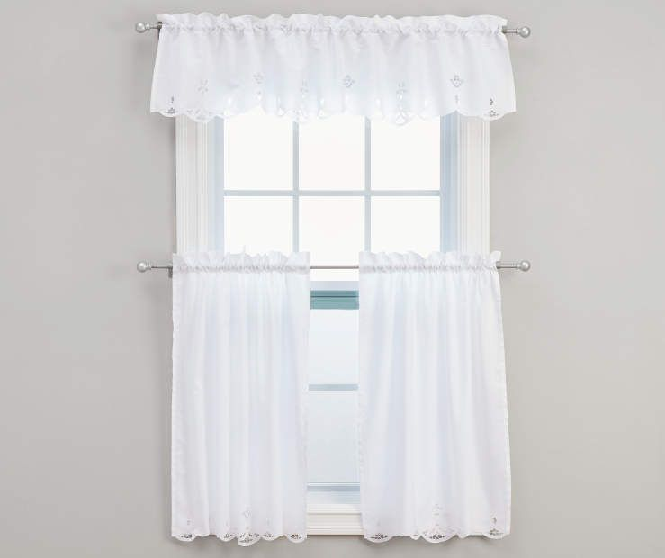 Kitchen Curtains At Big Lots: Lily White Kitchen Tier & Valance 3-Piece Set At Big Lots