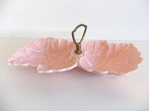 SALE vintage pink leaf nut or candy dish by NimblesNook on Etsy, $16.00
