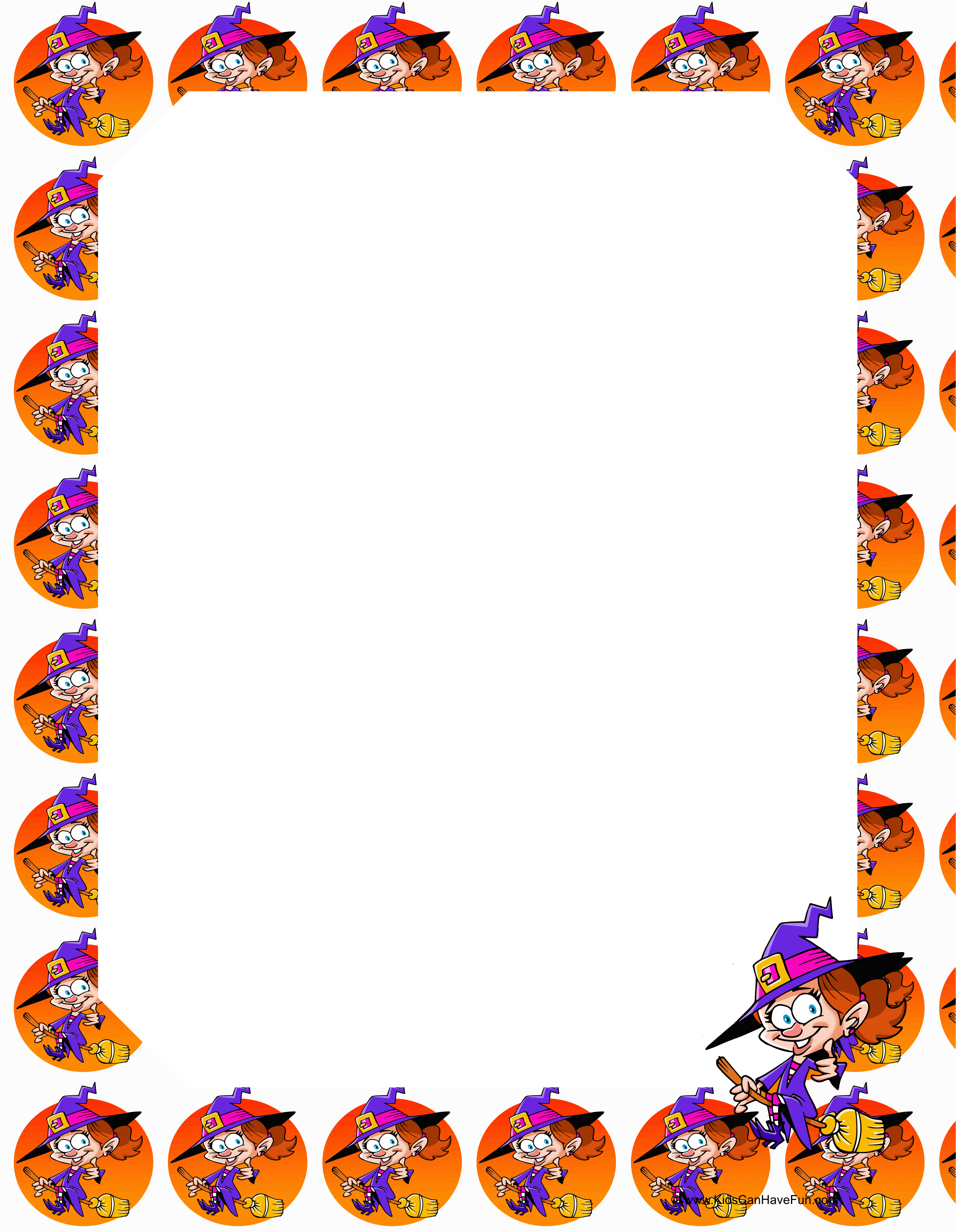 Halloween Witch Bordered Writing Paper For Kids