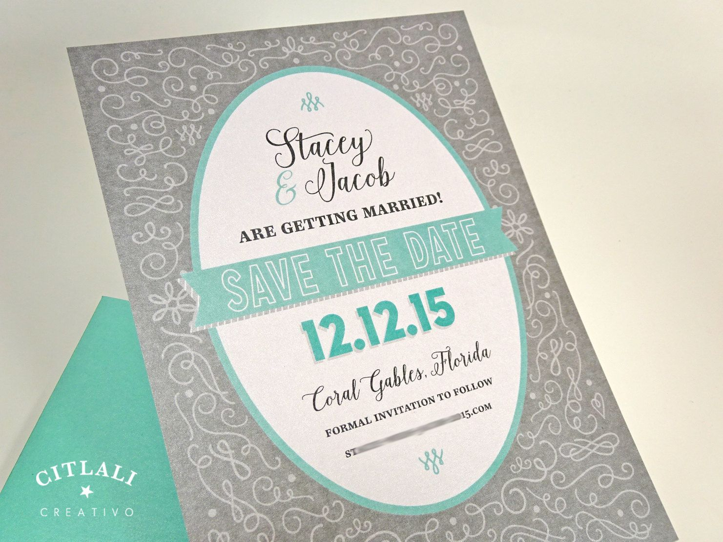 sample wording for save the date wedding cards%0A Flourish Save the date card  Modern Swirl Wedding Announcement in Aqua  blue  u     Gray or
