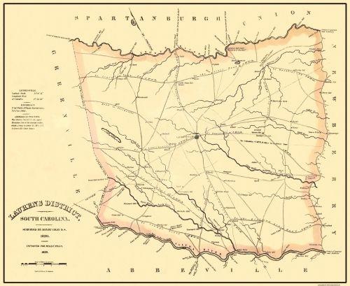Old County Map Laurens South Carolina Landowner Mills 1825