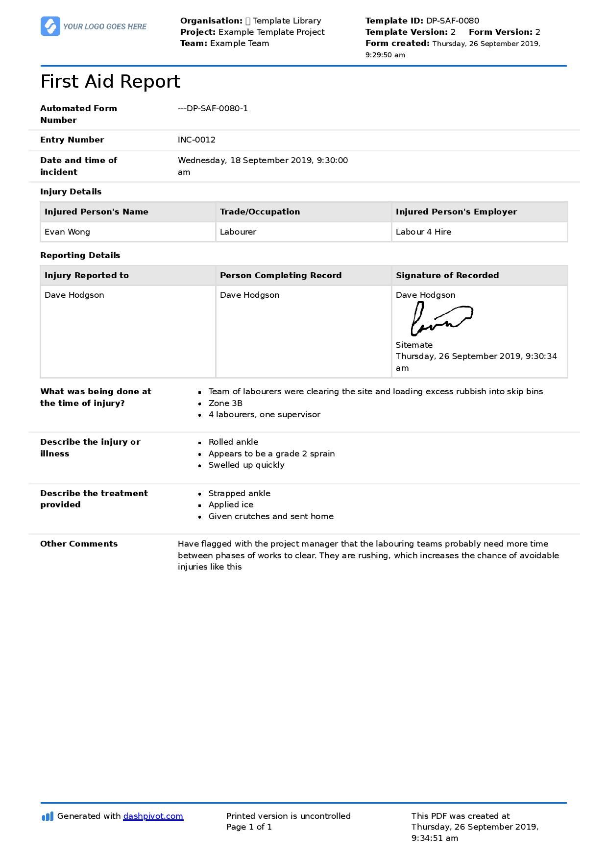 First Aid Report Form Template (Free To Use, Better Than