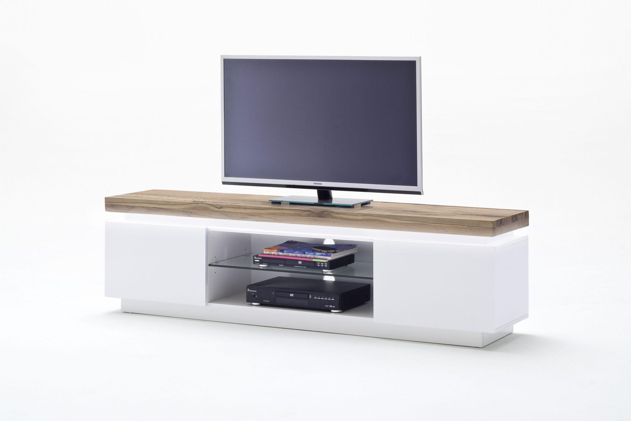 Tv Lowboard Weiss Matt/ Wildeiche Massiv Woody 41 02034 Holz Modern Jetzt  Bestellen