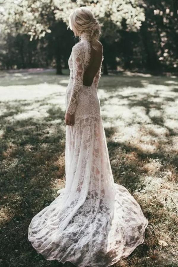 Mermaid High Neck Backless Long Sleeves Boho Lace Wedding Dress Okl48 Lace Beach Wedding Dress Beach Wedding Dress Lace Wedding Dress Vintage