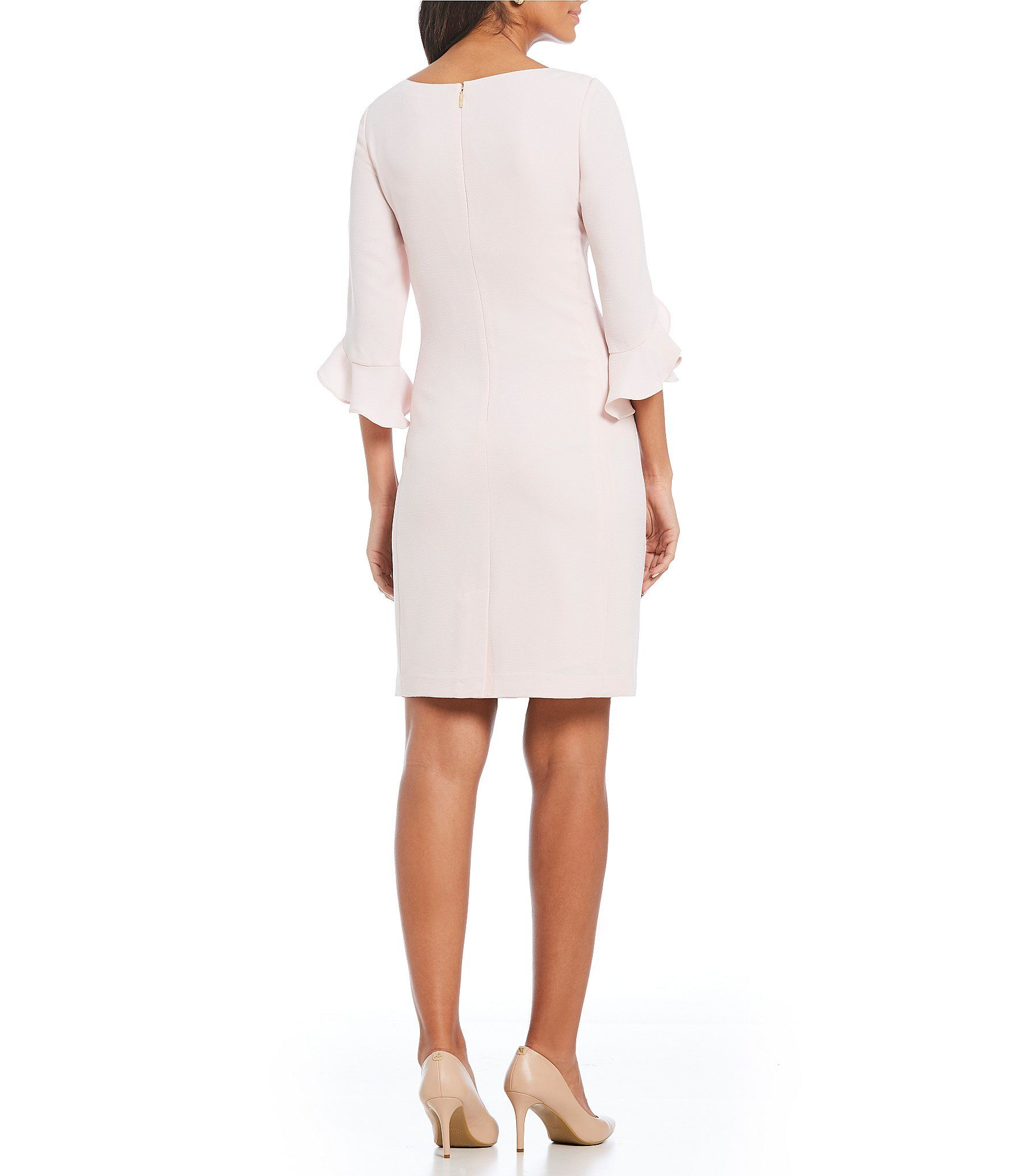 817013e3 Loooks white but is rose pink - $99-KARL LAGERFELD PARIS Tulip Bell Sleeve  Crepe Dress #Dillards