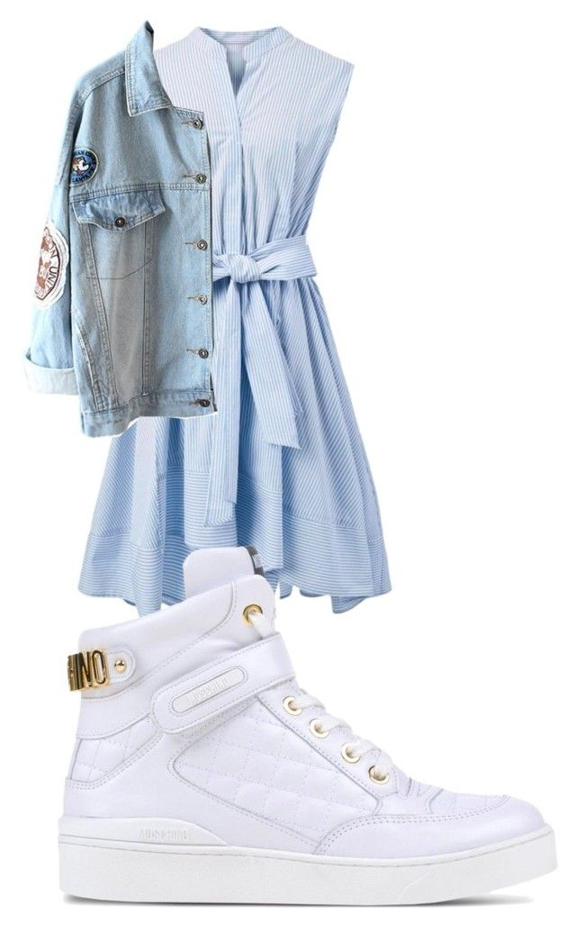 """high tops 'n denim"" by noodlies15 ❤ liked on Polyvore featuring Chicwish and Moschino"