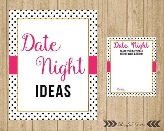Date Night Idea Card and Sign  Date Idea Cards  by BlissfulSoiree