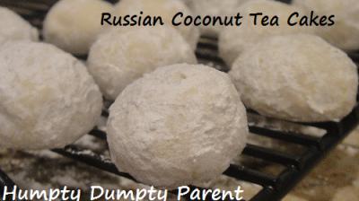 Russian Coconut Tea Cakes - HumptyDumptyParent.com