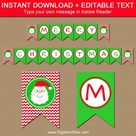 image regarding Christmas Banner Printable identify Xmas Banner - Do it yourself Printable Vacation Banner - Santa
