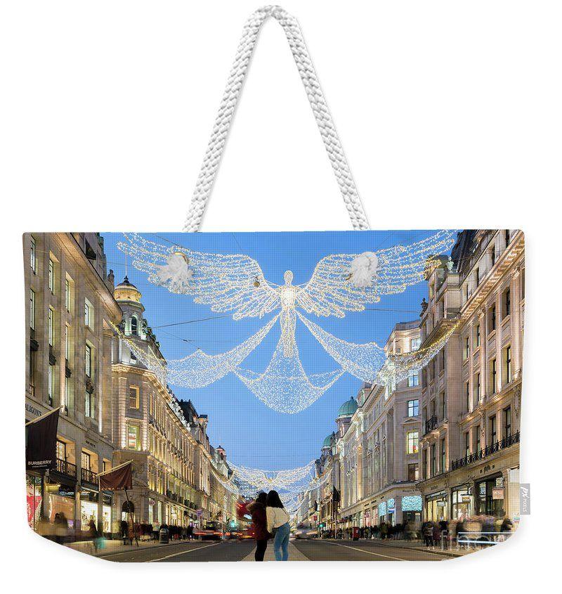 Regents Street Weekender Tote Bag #fineart #graphic #aesthetic #outfit #cute #design #Christmas #Angel #City #RegentStreet #London