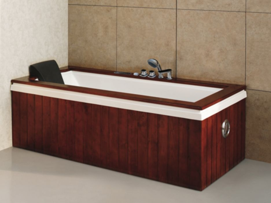 baignoire balneo atlas 300l 180 90 h60cm habillage bois luxe digital