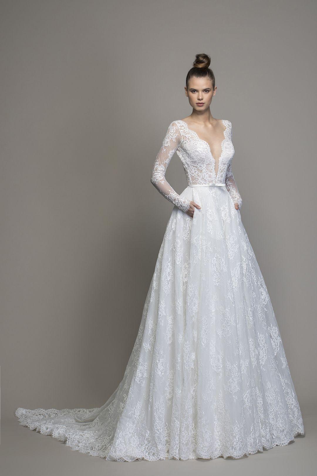 Long Sleeve Lace A Line Wedding Dress Kleinfeld Bridal Wedding Dresses Kleinfeld Wedding Dress Sleeves Pnina Tornai Wedding Dress