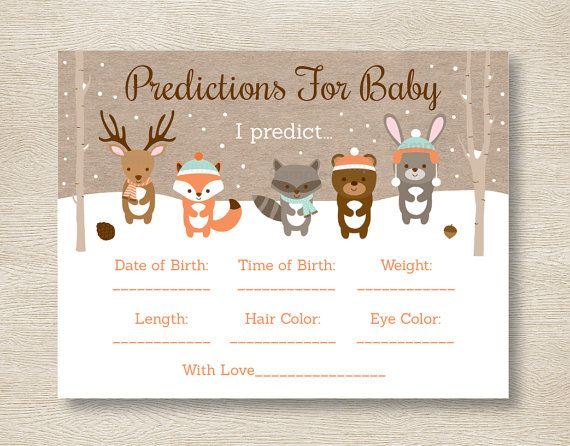 winter woodland animals baby predictions by littleprintsparties, Baby shower invitations