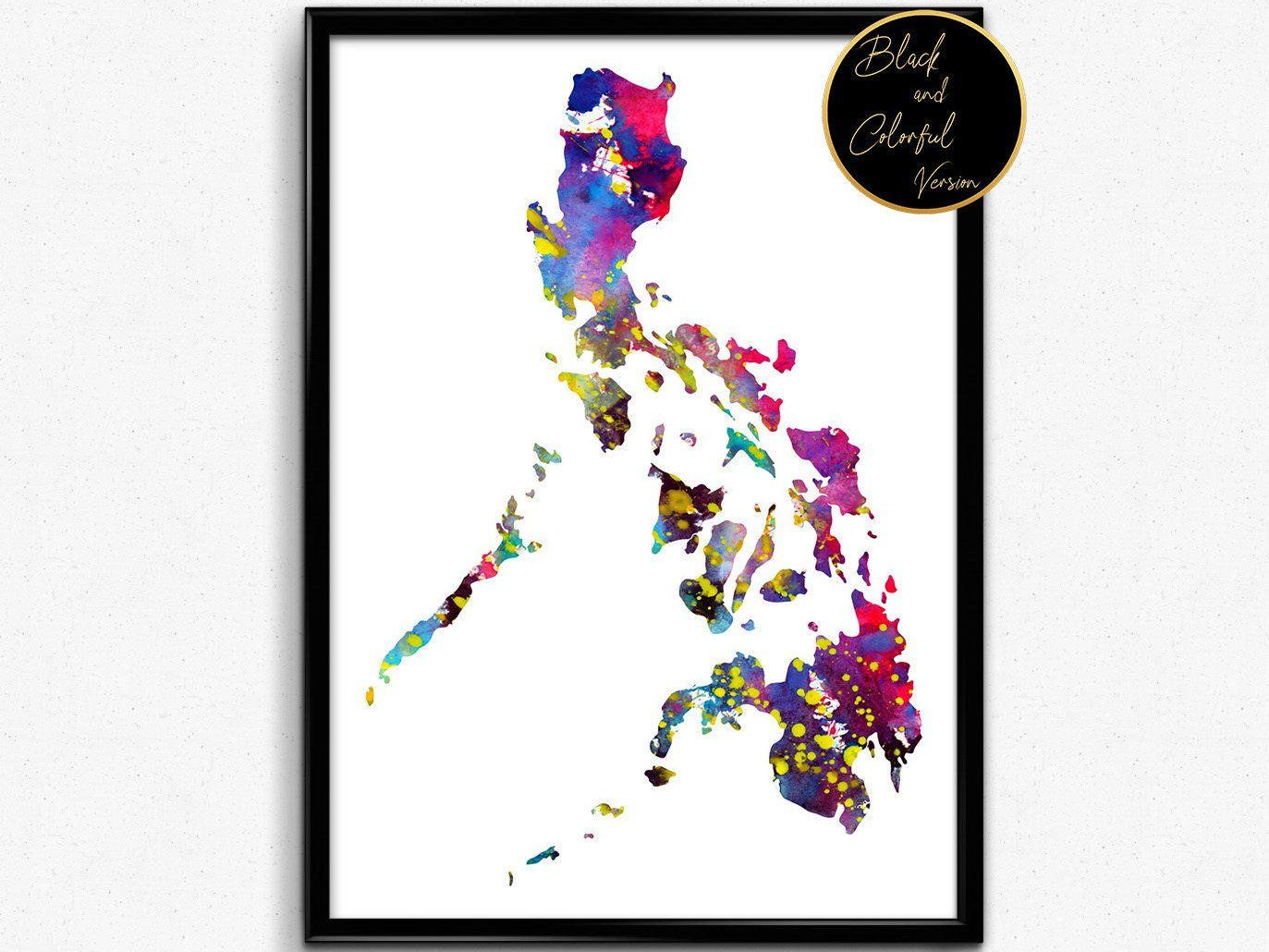 Philippine Map Watercolor Poster Watercolour Art Watercolor