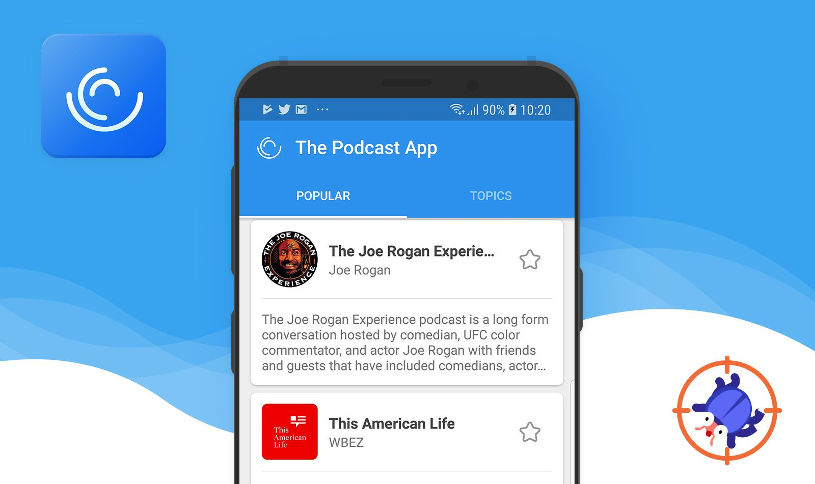 The Podcast App is a free app for Android where it is